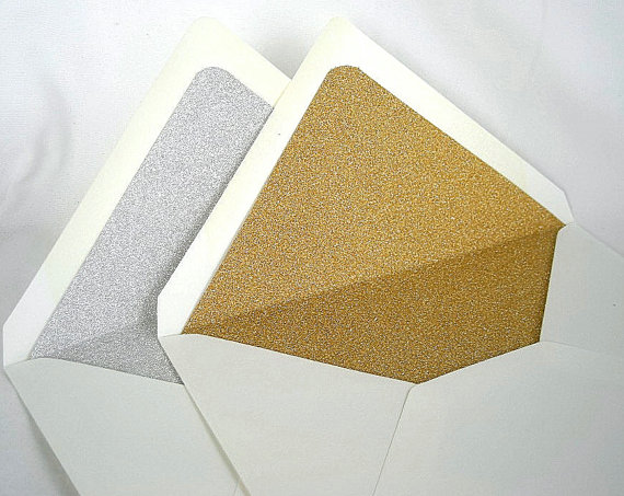 Gold Silver Glitter Lined Envelopes Liner Sparkly Wedding Invitation Birthday Ivory Cream A7 Size Custom Any Color