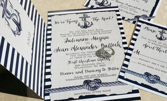 Nautical Wedding Invitations Heart Knot And Anchor