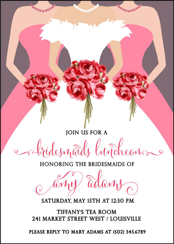 Bridesmaids Luncheon Invitation Bridal Brunch Wedding Dress Shower Tea Bouquet Printable