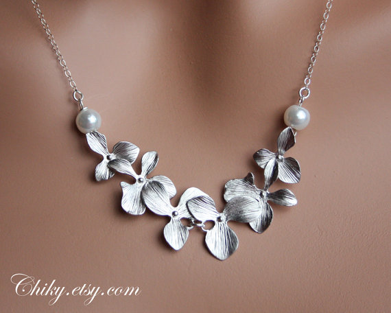 Orchid Necklace With Pearls Sterling Silver Wedding Bridesmaid Gifts Bridal Gift Jewelry Mothers Day
