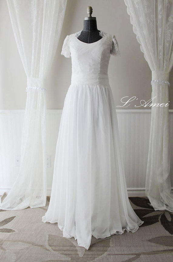 Custom Beach Style Ivory Or Pure White Floor Length Cotton Wedding Dress With France Lace Cap And Small Keyhole Back Ys198660198