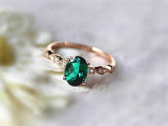 6x8mm Oval Emerald Ring Engagement Ring Gemstone Wedding Ring