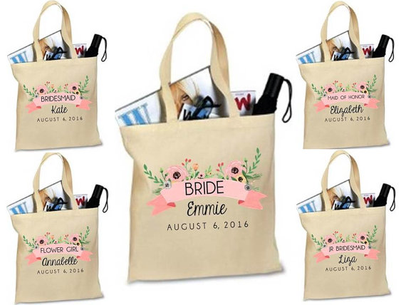 Bridesmaid Tote Bridal Party Gift Custom Bag Personalized Maid Of Honor Matron