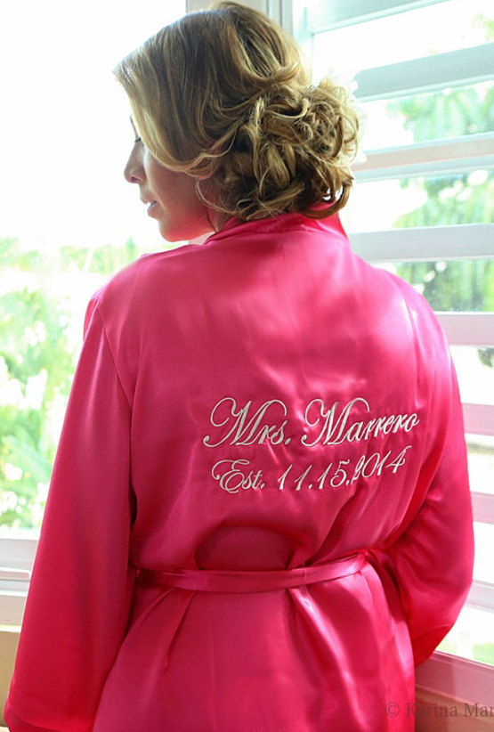 Personalized Mrs Satin Robe For The Bride Wedding Day Honeymoon Or Bridal Shower Gift