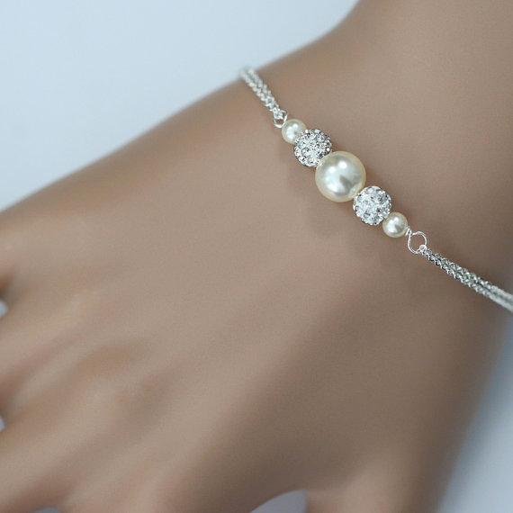 Custom Color Swarovski Ivory Pearl Bridesmaid Bracelet Jewelry Gift Wedding