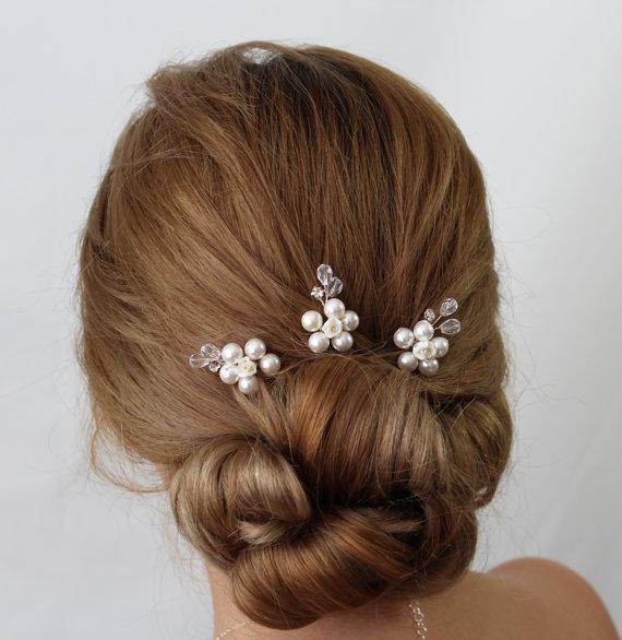 Bridal Flower Hair Pin Jasmine Pins Wedding Accessories Head Piece Pearl Amd