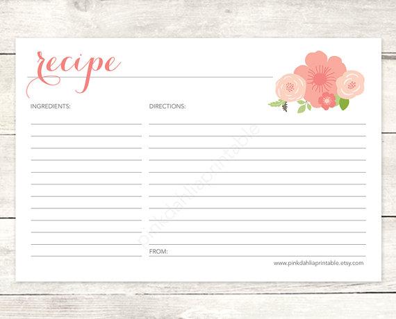 Recipe Card Bridal Shower Printable Diy Pink Flowers Fl Bouquet Wedding Digital Accessories Instant