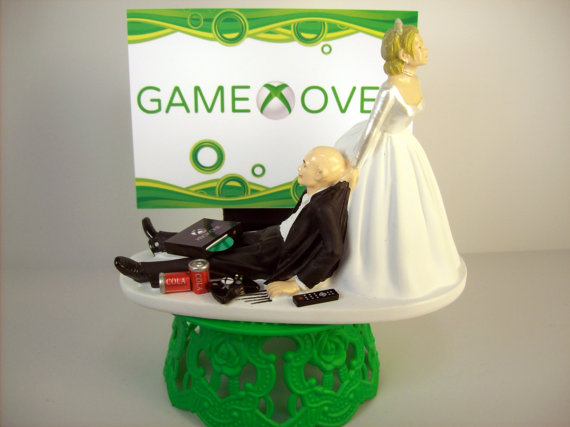 Funny Wedding Cake Topper Bald Custom Game Over Gamer Xbox One Ps4 Awesome Groom S