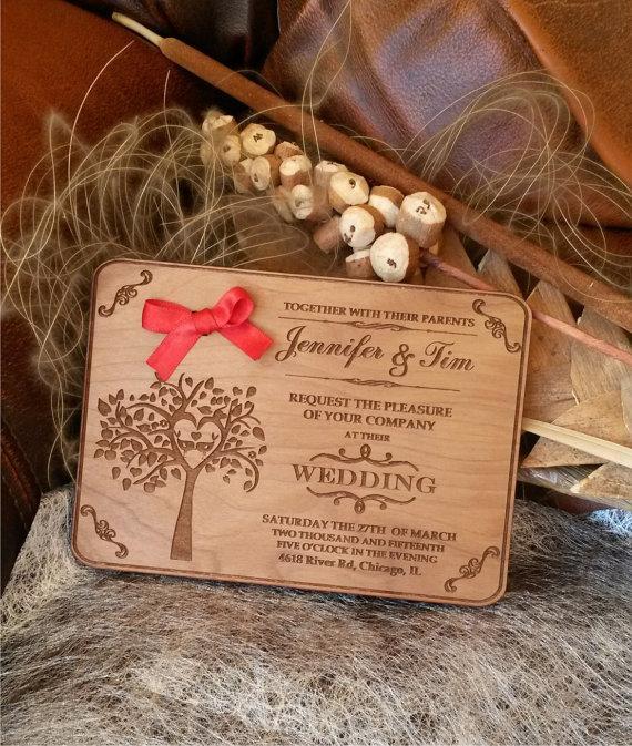 Engraved Wood Wedding Invitation Rustic Handmade Invitations Vintage Wooden