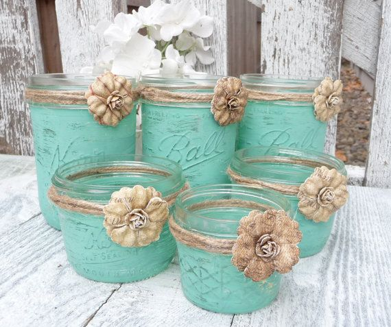 15 Rustic Mint Wedding Shabby Chic Upcycled Country Decor Candle Holders And Vases