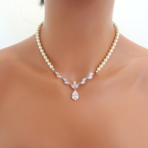 Pearl Bridal Necklace Set Crystal Wedding Earrings Rhinestone And Jewelry