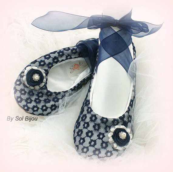 Ballet Flats Wedding Bridal Ballerina Slippers Flower Shoes Ivory Navy Blue Lace Crystals Pearls Destination