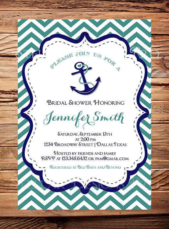 Nautical Bridal Shower Invitation Anchor Chevron Stripes Teal Pink Navy Anchors Away Wedding Item 1051