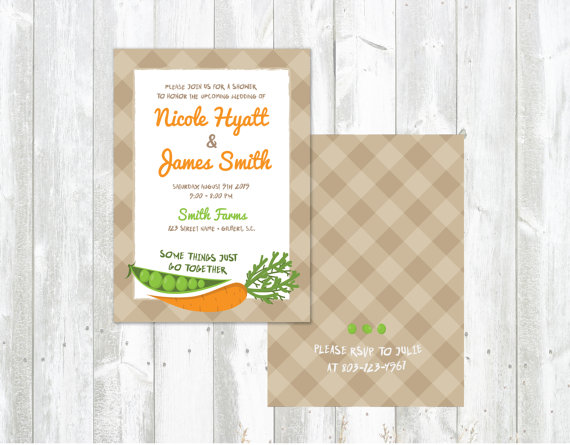 Peas Carrots Wedding Shower Invitations Printed Or Printable
