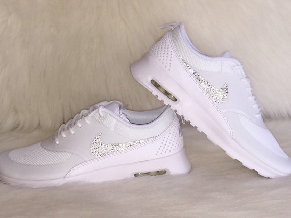New Just In Hot Women S Nike Air Max Thea Running Shoes White On Bling Swarovski Crystals Wedding Dance Gorgeous