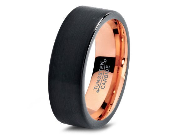 Black Tungsten Ring Rose Gold Wedding Band Carbide 7mm 18k Man Male Women Midnight Collection