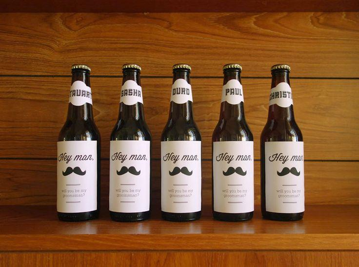 Will You Be My Groomsman Adhesive Label For Beer Bottle Gift Wedding