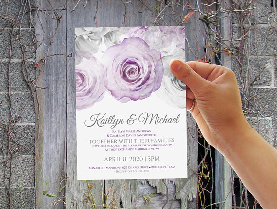 Diy Wedding Invitation Template Instantly Editable Text Watercolor Bouquet Purple Gray Microsoft Word Format