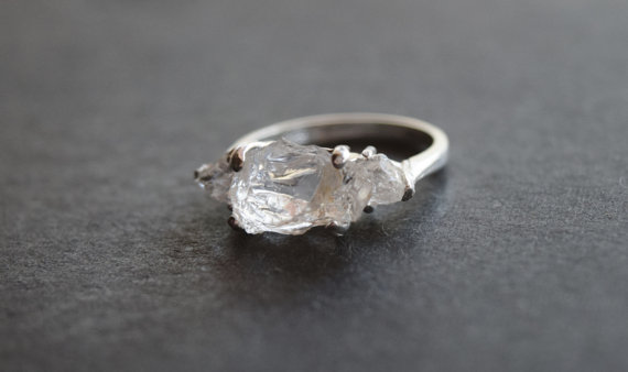 Handmade Raw Diamond Engagement Ring Rough Wedding Band Unique Gemstone Sterling Silver Promise Size 6 Avello