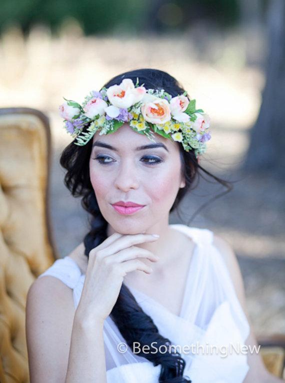 Flower Crown Wedding Hair Accessory Fl Wreath In Peaches And Lavenders Woodland Headpiece Wreaths