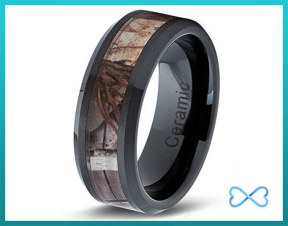 Camo Wedding Band Ceramic Mens Ring Bands Rings Pink 8mm Army Navy Mans Ranger Seal Solr Hunter His Her Set Size Brown