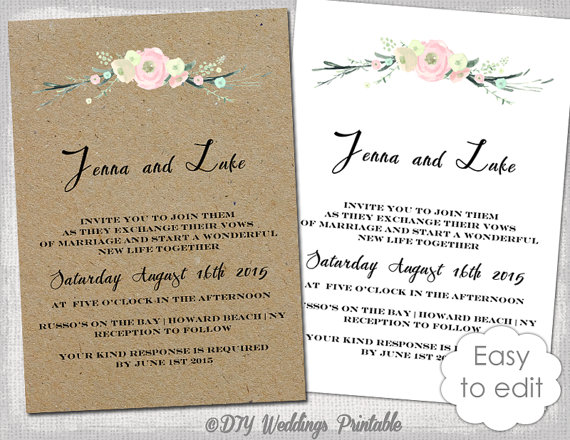 Printable Rustic Wedding Invitation Template Flowers Blush Pink Invitations Digital Kraft Invite You Edit Word Jpg