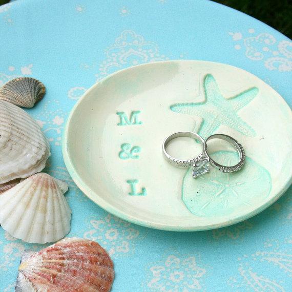 Wedding Ring Dish Rustic Holder Beach Bearer Personalized
