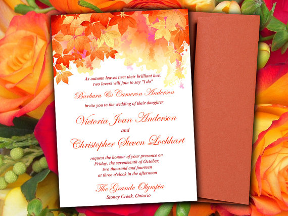 Diy Wedding Invitation Template Watercolor Fall Red Orange 5 X 7 Printable Word Autumn