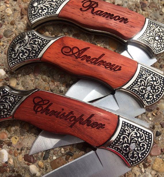 6 Personalized Knives Custom Engraved Groomsmen Gift Pocket Knife Ideas For Men Wedding Party Favors Hunting