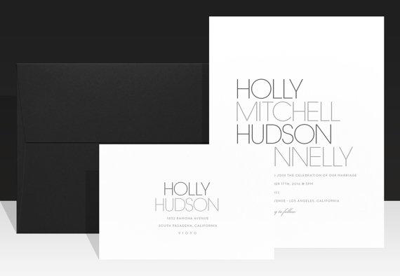 Minimalist Wedding Invitation Modern Chic Invitations Simple Black And White Invite Urban Typography Beautiful Holly
