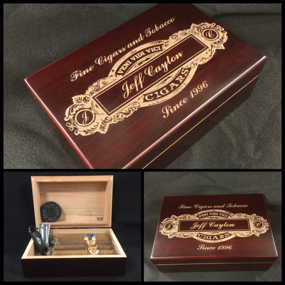 Custom Engraved Cigar Humidor Personalized Box Storage Holds 15 Cigars More Mahogany Groomsmen Best Man Gift Father S