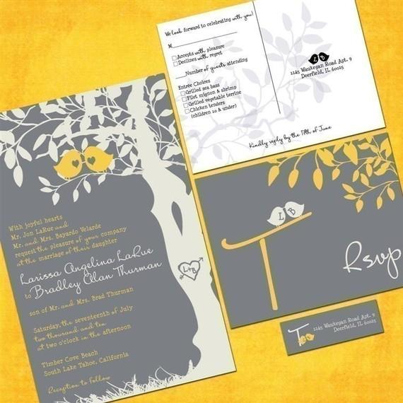 Custom Wedding Invitations Love Birds Gray And Yellow Invites Set Of 100