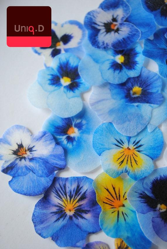 55 Get 5 Free Blue Edible Flowers Wedding Cake Toppers Favors Cupcake By Uniqdots On