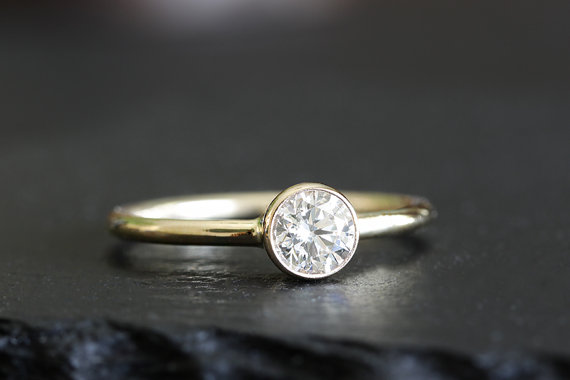 14k Gold Diamond Engagement Ring Tapered Setting Stackable Wedding Eco Friendly Handmade