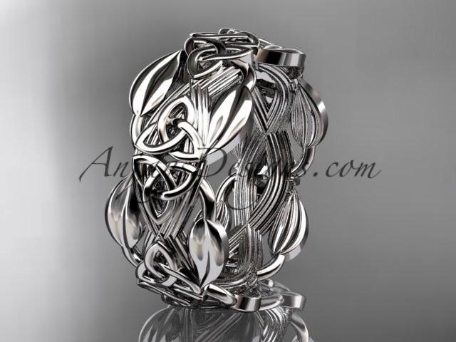 14kt White Gold Diamond Celtic Trinity Knot Wedding Band Engagement Ring Ct7259b