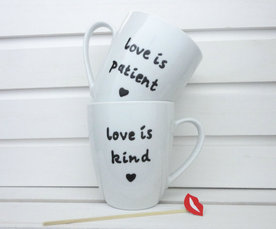 Unique Wedding Gift For Bridal Shower Personalized Coffee Mugs Set Love Is Patient Iskind Anniv