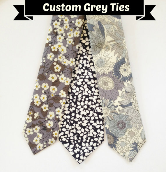 Grey Men S Necktie Liberty Of London Tie Custom Wedding Skinny Groomsmen Fl Black