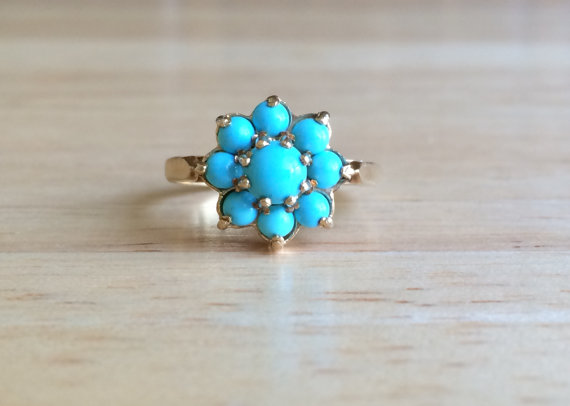 Antique 9ct Yellow Gold Blue Turquoise Stone Cluster Ring Size 7