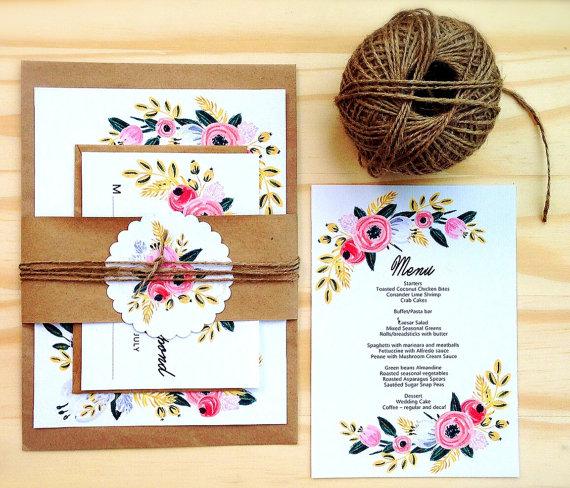 Printable Wedding Invitation Set Instant Editable Word