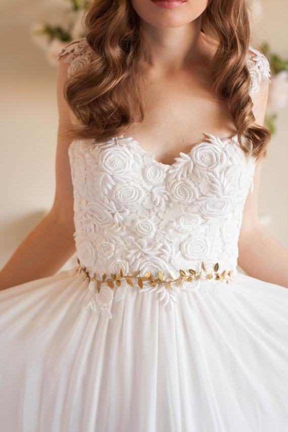 Delicate Leaf Sash Wedding Bridal Belt Gold Or Silver Greek Dess Boho Woodland