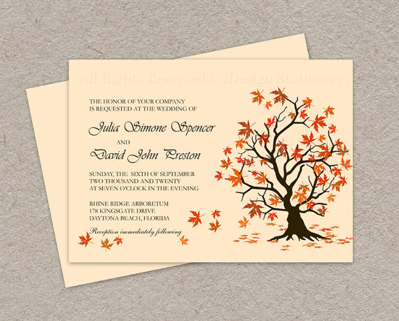 Diy Fall Wedding Invitation Printable Leaves Invitations Falling Autumn Template