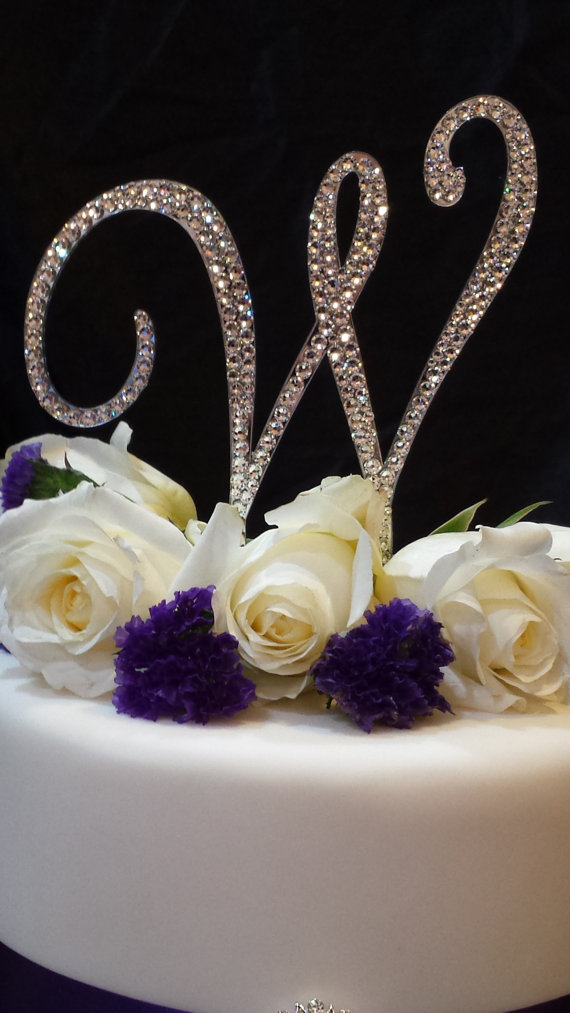 swarovski crystal monogram wedding cake topper 5 inch monogram wedding cake topper 20674