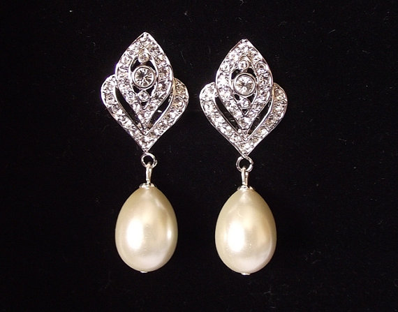 Bridal Earrings Pearl Wedding Vintage Style Jewelry Clip On Ivory Drop