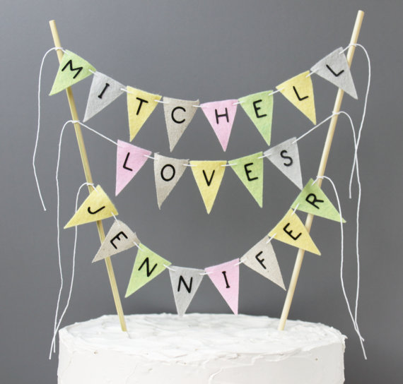 personalised wedding cake topper bunting personalized wedding cake topper vintage inspired custom 18240