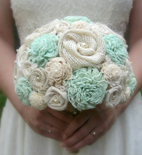 Hand Dyed Pastel Mint Sola Wood Alternative Wedding Bouquet Mixed Ivory Flowers Handmade Fabric Rosettes Burlap Cream Green