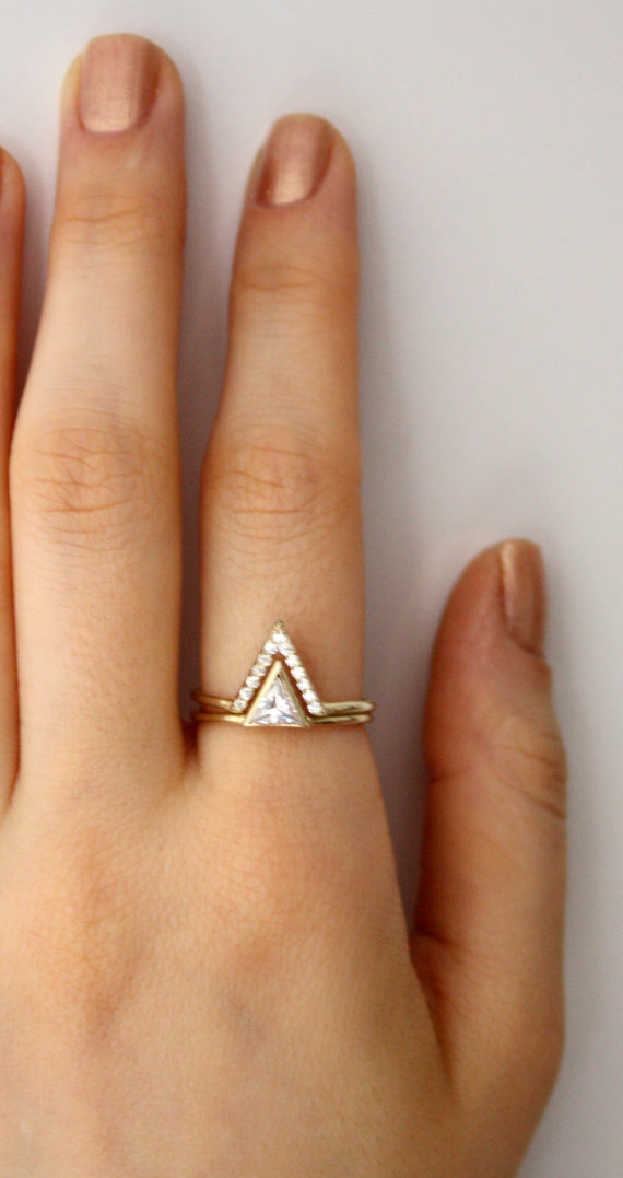 Triangle Ring With Pave Cz V Swarovski Engagement Double 14k Gold Filled Thing