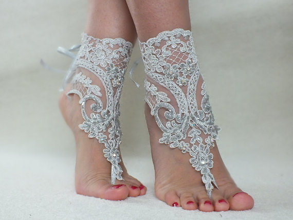 Silver Beach Wedding Barefoot Sandals Gray Embroidered Beads Anklets Bridal