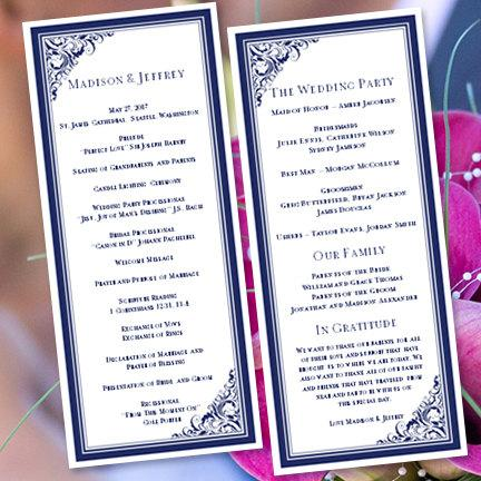 Wedding Program Template Tea Length Brooklyn Navy Blue