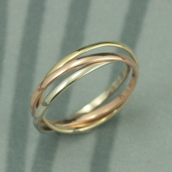 14k Tri Color Rolling Ring Rose White And Yellow Gold Interlocking Three 1 5mm Wide Half Round Bands Russian Wedding Band