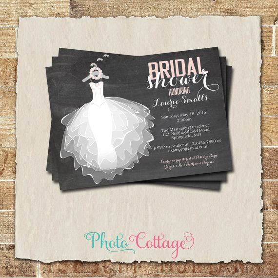 Bridal Shower Invitation Chalkboard Wedding Dress Invitations Invites Pink Bs116